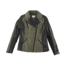 Laundry by Shelli Segal Womens Faux Leather Trim Zip Front Motorcycle Jacket