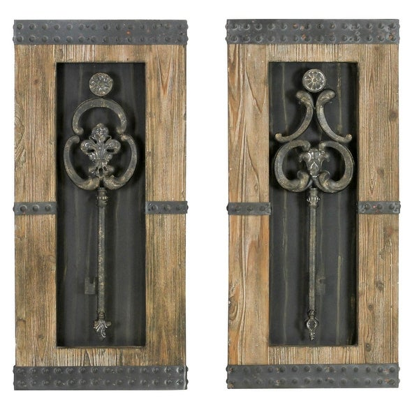 Shop Aspire Home Accents 68402 Antique Key Wood Wall Decor (Set Of 2)    Antique Brown   N/A   Free Shipping Today   Overstock   14529129