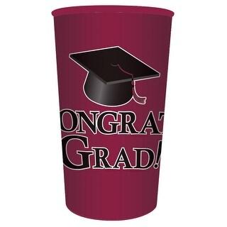 "Club Pack of 20 Burgundy ""Congrats Grad!"" Graduation Party Souvenir Tumbler Drinking Cups 22 oz."
