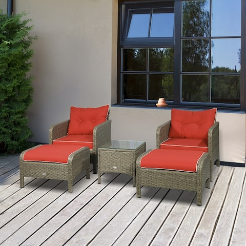 Outsunny 5 Piece Rattan Wicker Outdoor Patio Conversation Set with 2 Cushioned Chairs, 2 Cushioned Ottomans & Glass