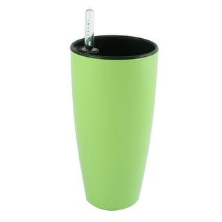 Plastic Round Shape Self Watering Planter Pot Green w Water Level Indicator