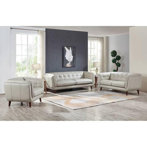 Hydeline Solana Top Grain Leather Sofa Set, Sofa, Loveseat and Chair