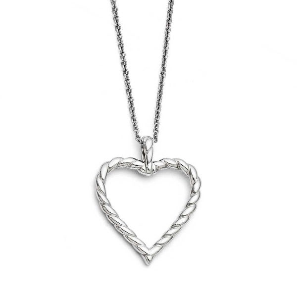 Chisel Stainless Steel Twisted Heart Pendant Necklace (2 mm) - 18 in