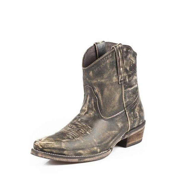 Roper Western Boots Womens Ankle Snip Toe Brown