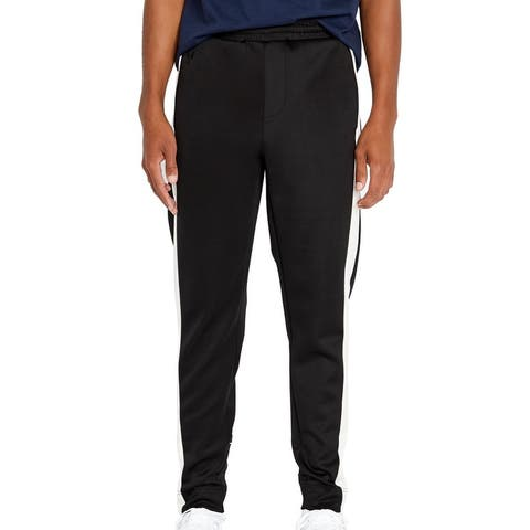 Avirex Mens Track Pants Black Large L Side Stripe Tapered Embroidered