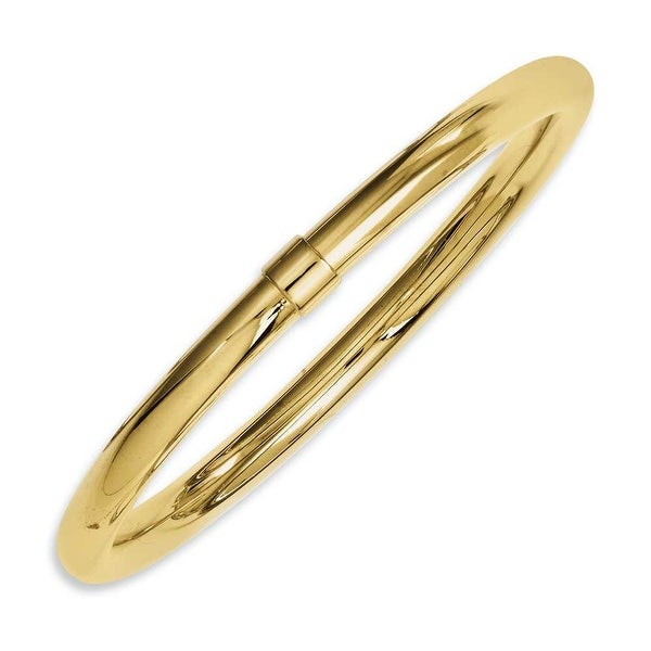 Chisel Stainless Steel Yellow IP-plated Polished Hollow Bangle Bracelet