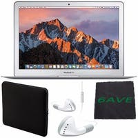 "Apple 13.3"" MacBook Air 256GB SSD #MQD42LL/A + White Wired Earbuds Headphones + Padded Case For Macbook + Fibercloth Bundle"