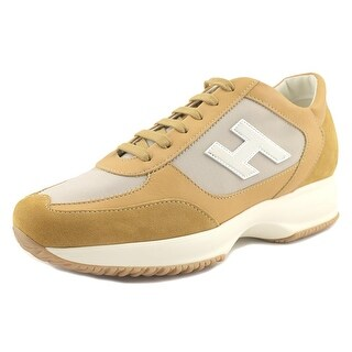 Hogan Interactive H Flock Women Round Toe Leather Tan Fashion Sneakers