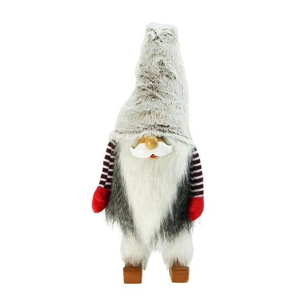 "29.5"" Plush and Fuzzy Bobble Nordic Santa Christmas Gnome Tabletop Figure"