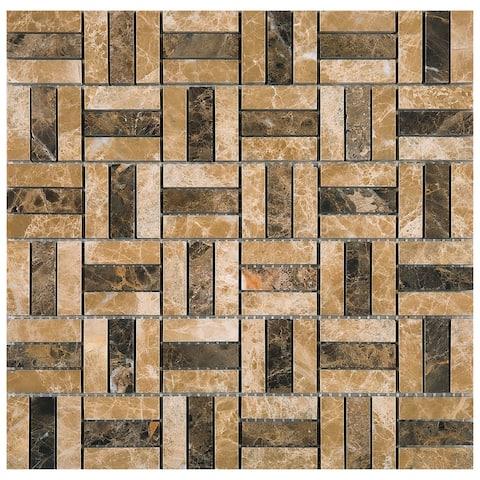 TileGen. Maze Marfil Emperador Random Size Marble Tile in Beige/Brown Floor and Wall Tile (10 sheets/9.6sqft.)