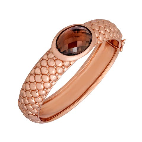 13 ct Smoky Quartz Bangle Bracelet in 18K Rose Gold-Plated Bronze - Smokey