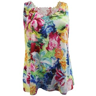 Women Plus Size Sleeveless Floral Print Design Lace Back Summer Tank Top Multi