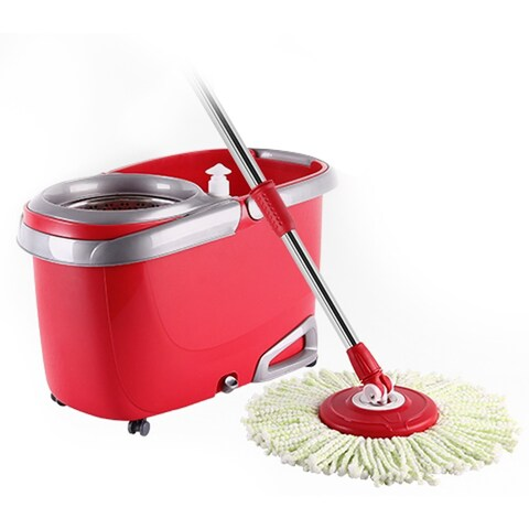 Arevo Whirlwind Wet Spin Mop and Rolling Bucket - Red