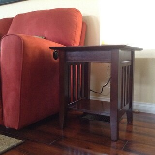 Shop Mission Charger Walnut Wood End Table   Free Shipping Today    Overstock.com   12434738