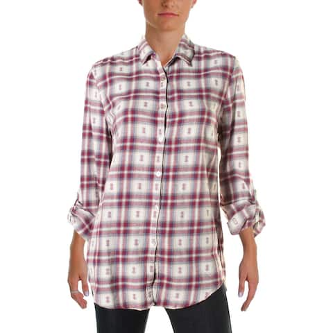 4Our Dreamers Womens Button-Down Top Plaid Lace Back