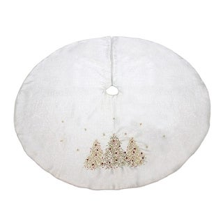 Pack of 4 Elegant Metallic SIlver Decorative Round Tree Skirts with Christmas Trees Design 54""