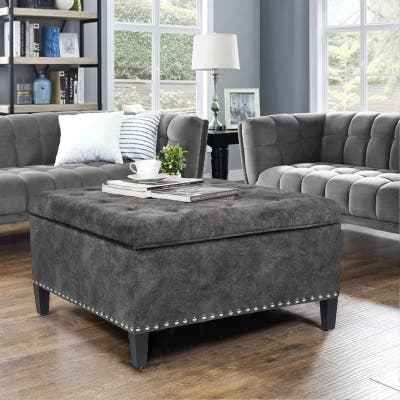 Adeco Large Square Footstool Fabric Storage Ottoman Bench