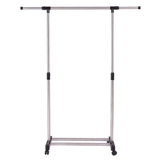 Link to Gymax Portable Rolling Garment Rack Closet Organizer Shelf Clothes Similar Items in Laundry