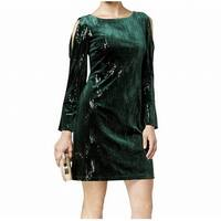 Jessica Howard Green Womens 14 Sequin Cold-Shoulder Sheath Dress