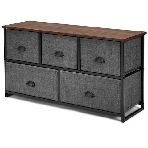 Gymax 5 Drawers Dresser Storage Unit Side Table Display Organizer Dorm