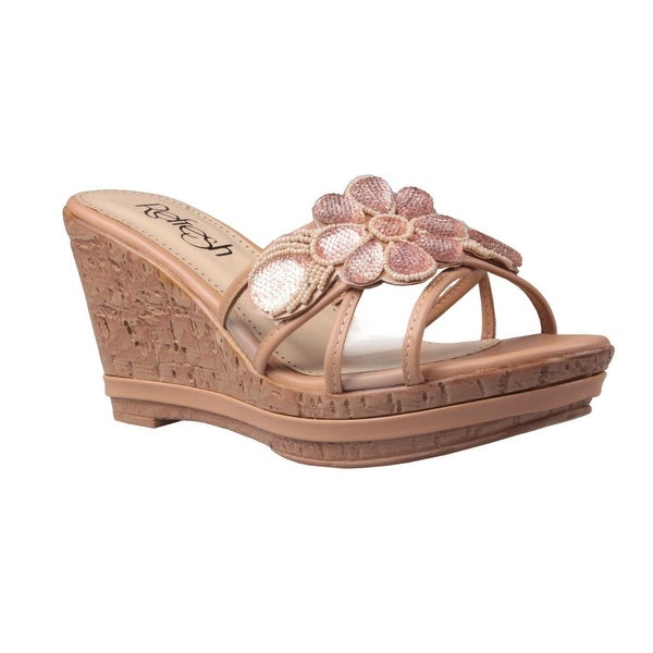 Refresh Women Belle-01 Wedge Strappy Beaded Sandals