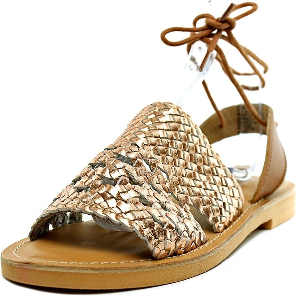 Kenneth Cole Reaction Zoom Out Women Open-Toe Leather Gold Slingback Sandal