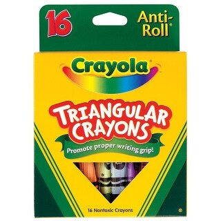 Crayola Anti-Roll Non-Toxic Triangular Crayon, 7/16 X 4 in, Assorted Color, Pack of 16