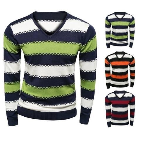 V Collar Striped Knit Sweater