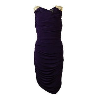 JS Boutique Women's Sequin Embellished Ruche Sheath Dress - 14