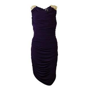 JS Boutique Women's Sequin Embellished Ruche Sheath Dress