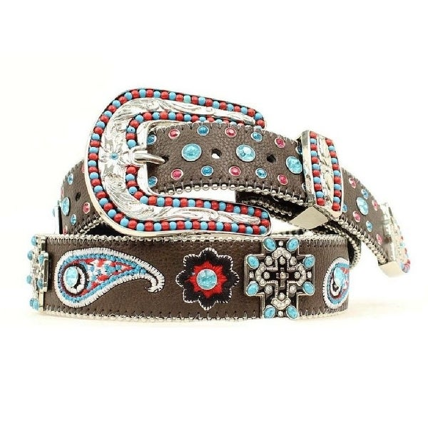 Blazin Roxx Western Belt Womens Cross Paisley Conchos Brown - XL