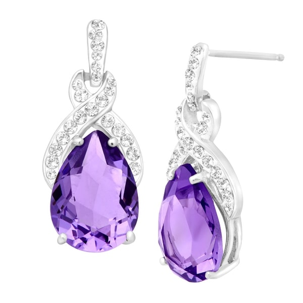 Crystaluxe Drop Earrings with purple Swarovski elements Crystals in Sterling Silver