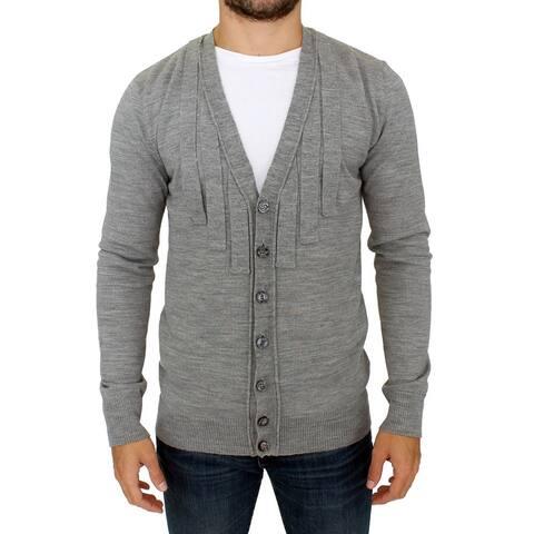 Karl Lagerfeld Gray wool cardigan Men's sweater