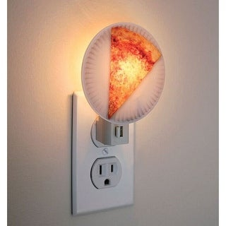Pizza Slice On Paper Plate Night Light - White