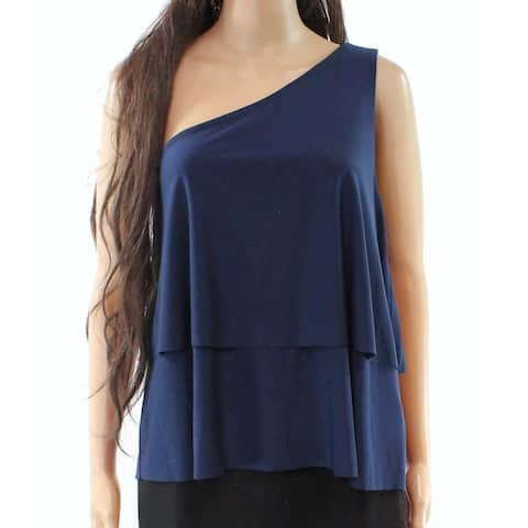 Halston Navy Women's Large One-Shoulder Tiered Blouse