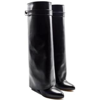 Givenchy Shark Womens Lock Black Leather Knee Boots Size 35 / 5