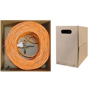 Offex Plenum Cat6 Bulk Cable, Orange, Solid, UTP (Unshielded Twisted Pair), CMP, 23 AWG, Pullbox, 1000 foot