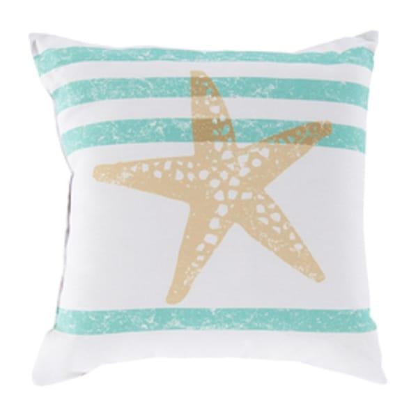 "20"" Light Gray and Moss Green Star Fish Wonders Decorative Pillow Shell"