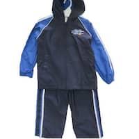 Little Boys Navy Blue Athletic Zipper Hooded Striped 2 Pc Pants Set 4-7