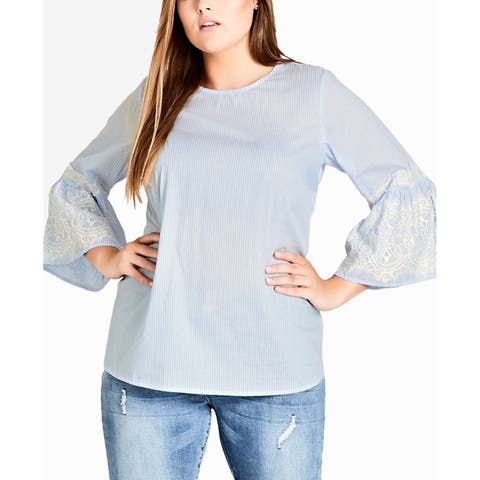 City Chic Women's Blouse Blue Size 20W Plus Pinstriped Scoop Neck