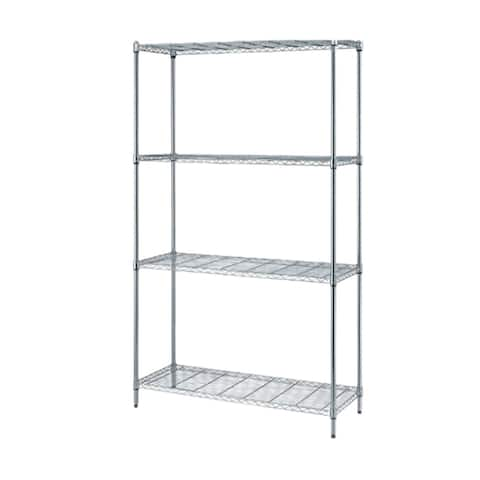 "Offex 1 Box Wire Shelving 4 Shelf Unit in Chrome Finish - 18""W X 42""L"