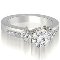 1.40 cttw. 14K White Gold Round and Princess cut Diamond Engagement Ring