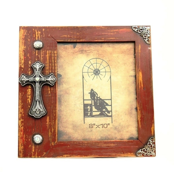 Shop Mf Western Frame Photo Cross Wooden 8x10 Distressed Red Free