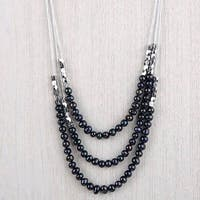 Mad Style Emma Blanc/Noir Strand Pearl Necklace - BLACK/WHITE