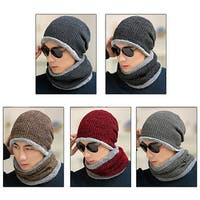 Man Fashion Winter Warm Acrylic Knitted Comfort Outdoor Hat Circle Scarf Gift