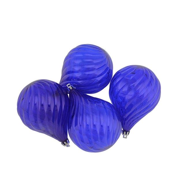 "4ct Lavish Blue Transparent Finial Drop Shatterproof Christmas Ornaments 4.5"""