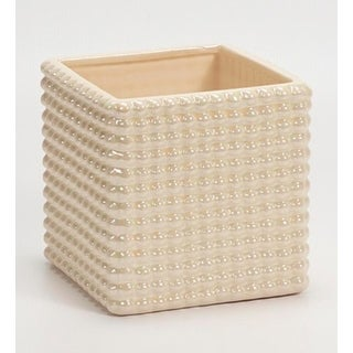 "5.5"" Decorative Iridescent Cream White Cube Planter with Hobnail Design"