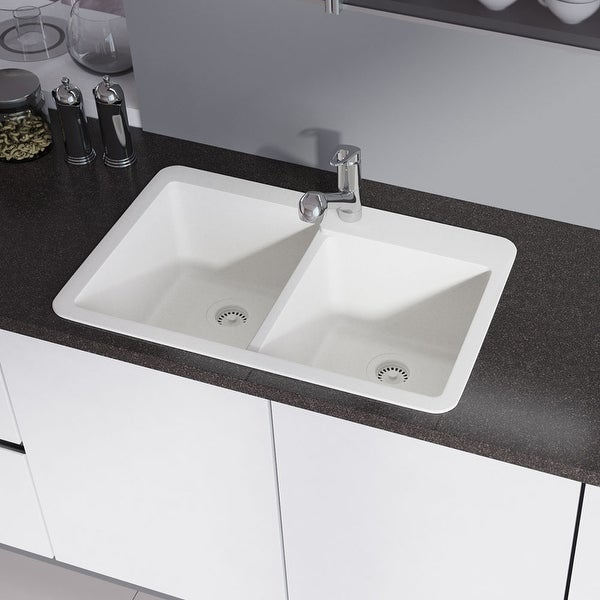 R3-2001 Topmount Offset Granite Quartz Kitchen Sink with Two Grids and Matching Colored Strainer and Flange. Opens flyout.