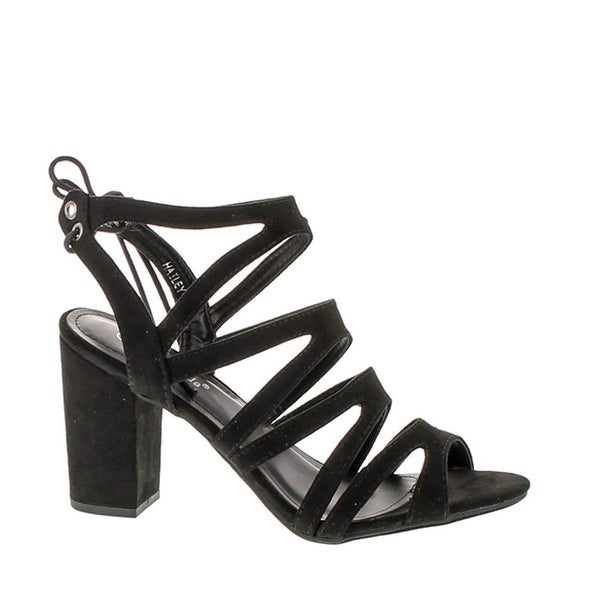Top Moda Hailey-1 Women's Cutout Tie Back Stacked Chunky Platform Heel Sandal - Black
