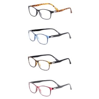 Modern Rectangle Two Color Reading Glasses 4 Pair Pack - Assorted